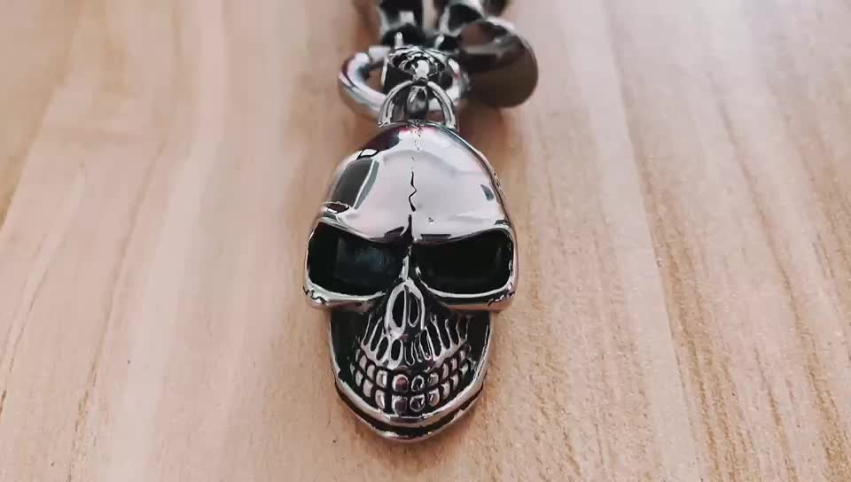 Personalized men natural stone bead skull pendant necklace