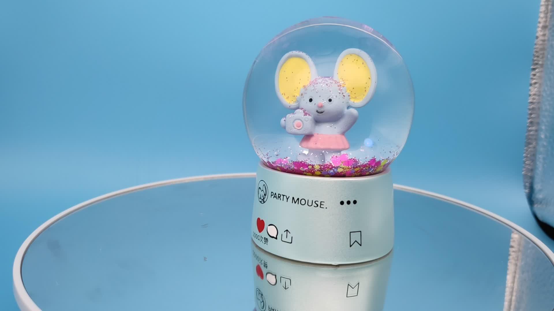 การออกแบบที่กำหนดเอง party mouse snowball ช้าง snow globe