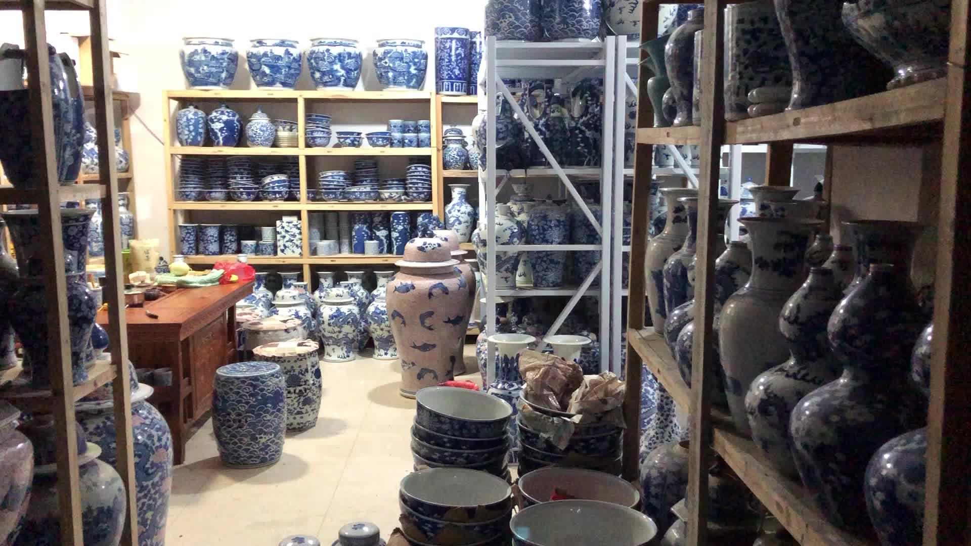 Искусство Цзиндэчжэнь фарфоровая ваза китайский домашний декор античный Дракон керамическая синяя белая ваза
