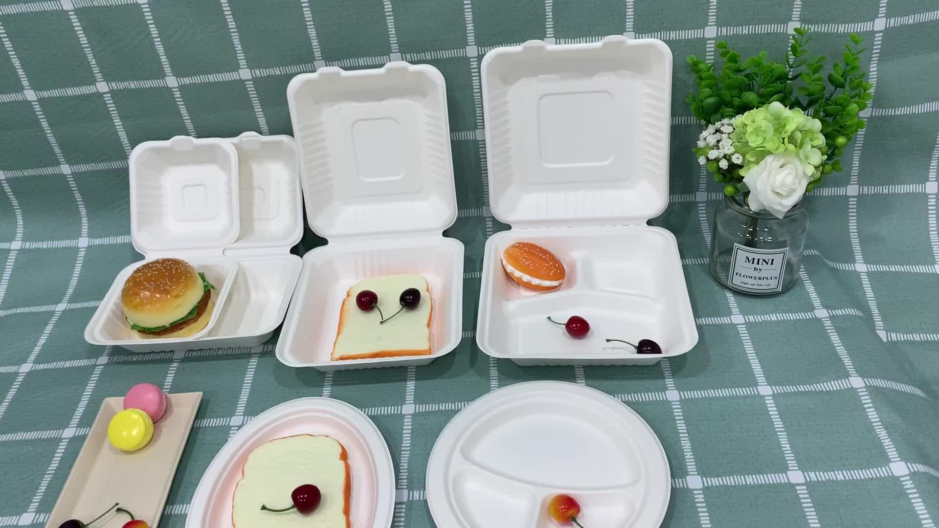 Sugarcane Bagasse Disposable Party Dinnerware Paper Plate Set