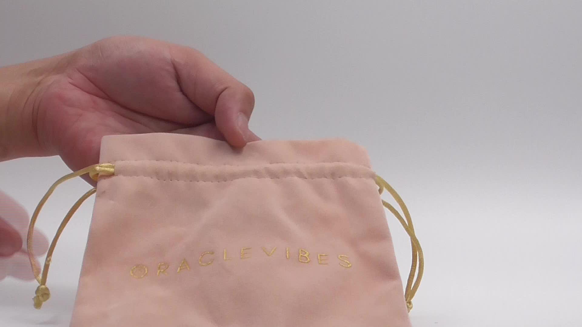 Wholesale Custom logo Silk screen printing small luxury gift perfume pouch pink velvet drawstring bracelet jewelry packaging bag