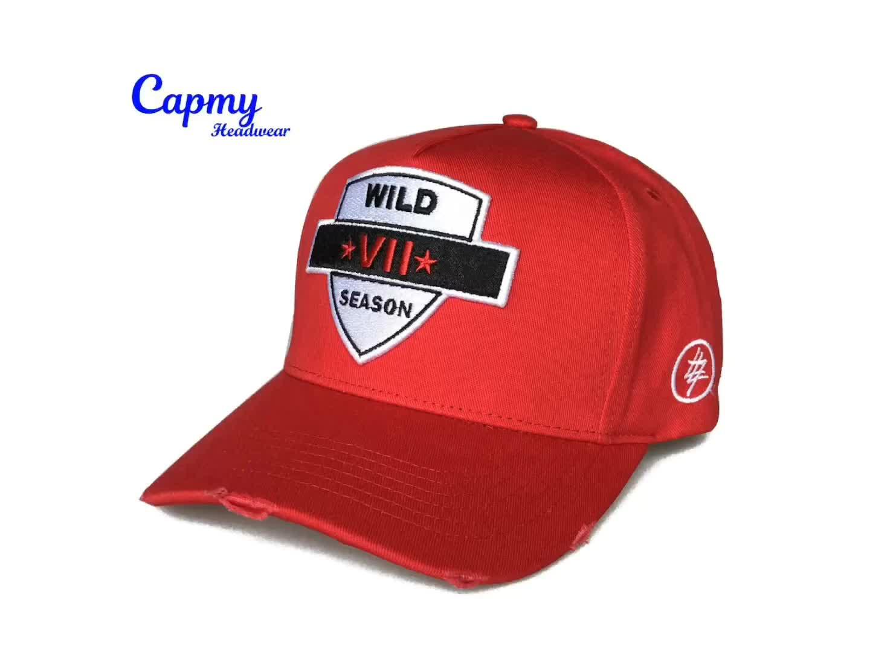 Özel % 100% Pamuk Tarzı 6 Panel kırmızı beyzbol şapkası