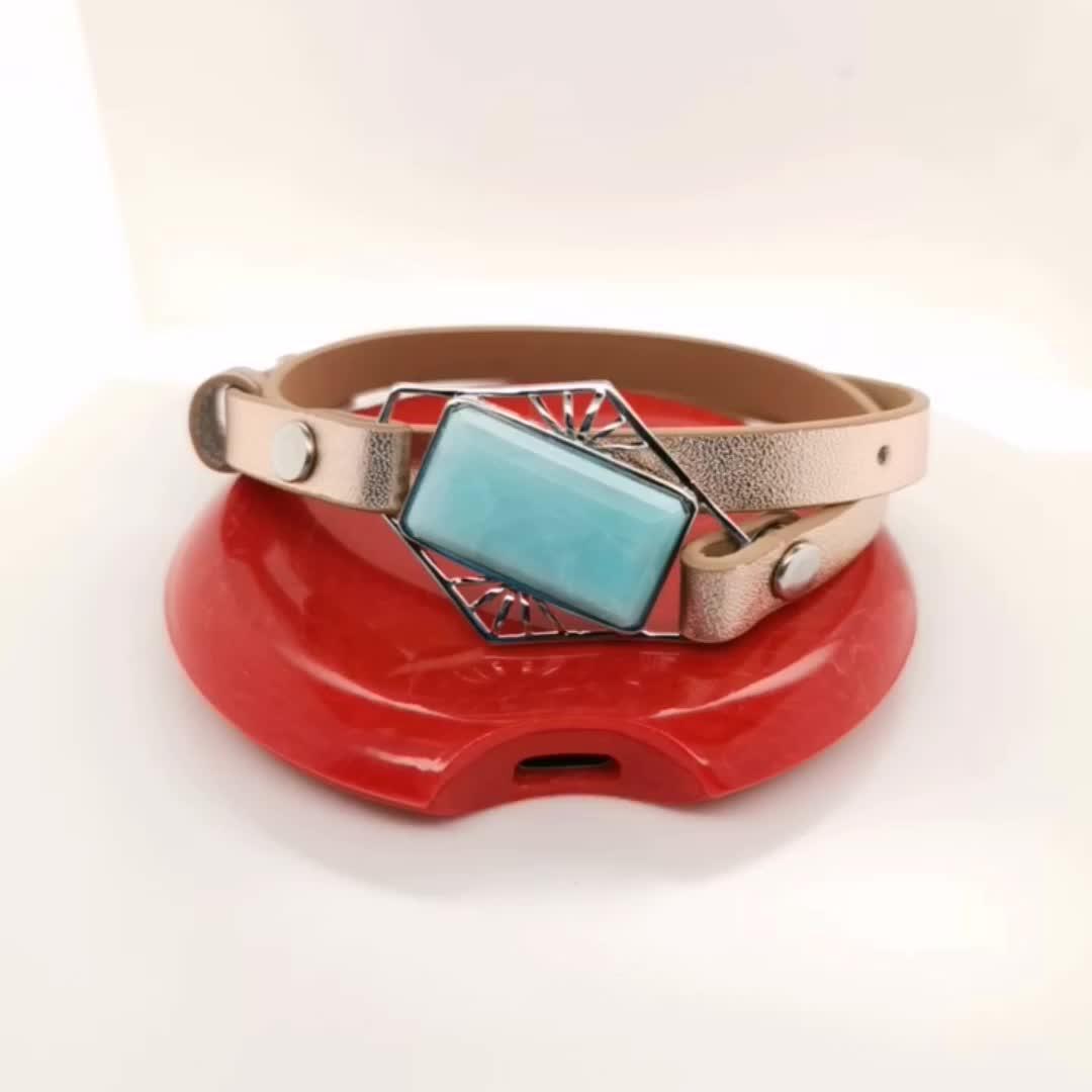 wireless charging tracker premium heart rate monitor gemstone women smart bangles ladies smart bracelets