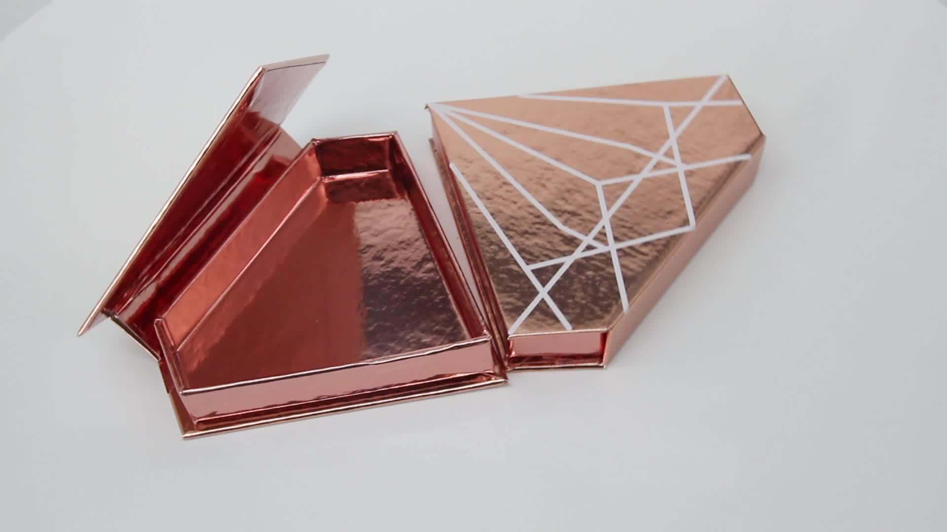 Del commercio all'ingrosso di personalizzazione di lusso fatto a mano 25 millimetri ciglia golden diamond scatola di imballaggio