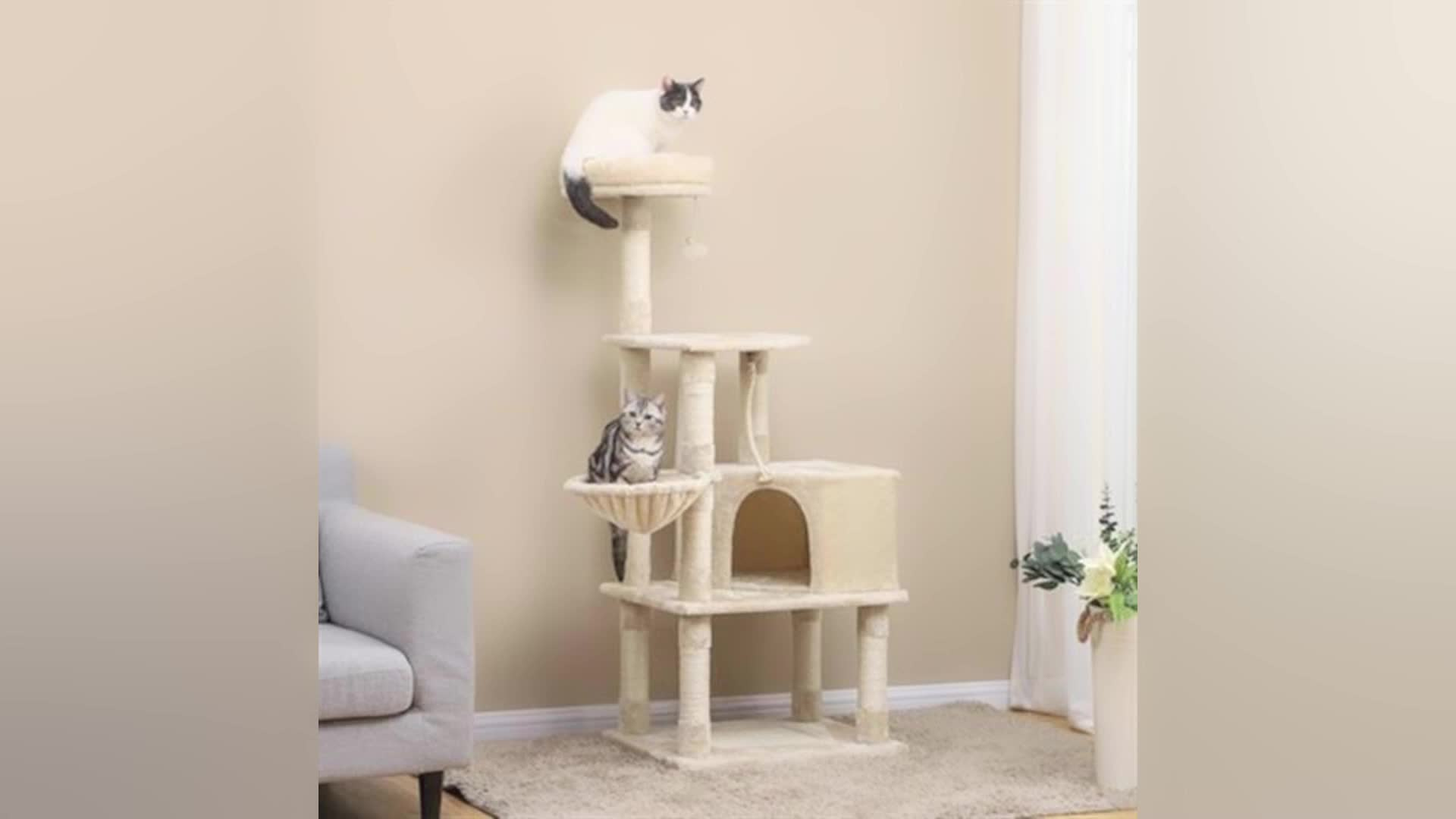 Natural paradise wood cat tree house tower scratcher tree