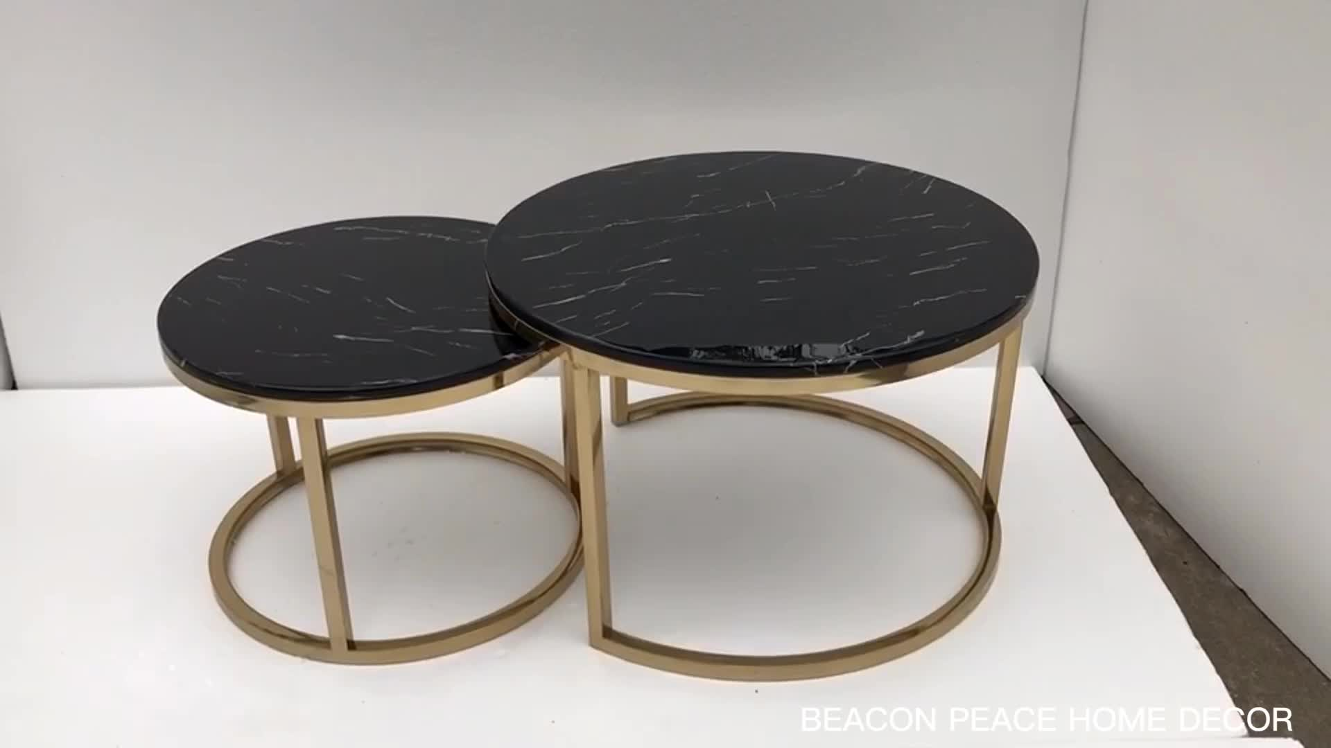 Modern white black marble top round gold nesting coffee table
