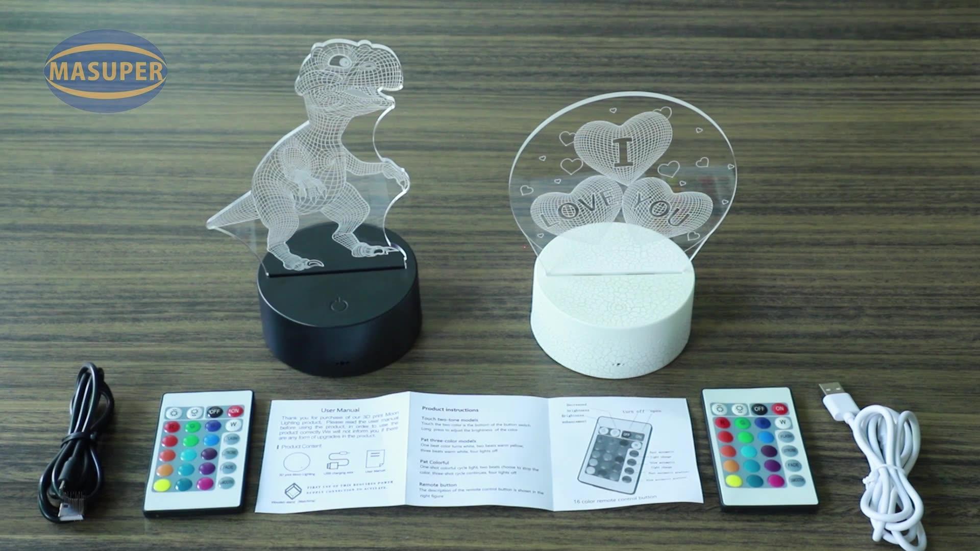 Décor à la maison Acrylique illusion Lampe Bébé Créatif Cadeau Enfants 3D conduit petite veilleuse Pour Enfants