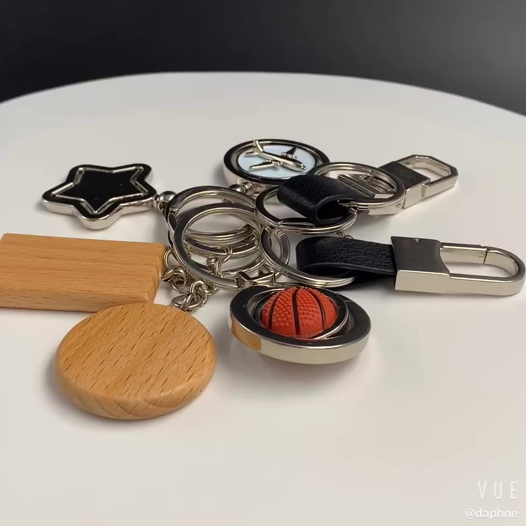 Cheap Custom Logo Round Rectangle shape Wooden Keychain for giveaway