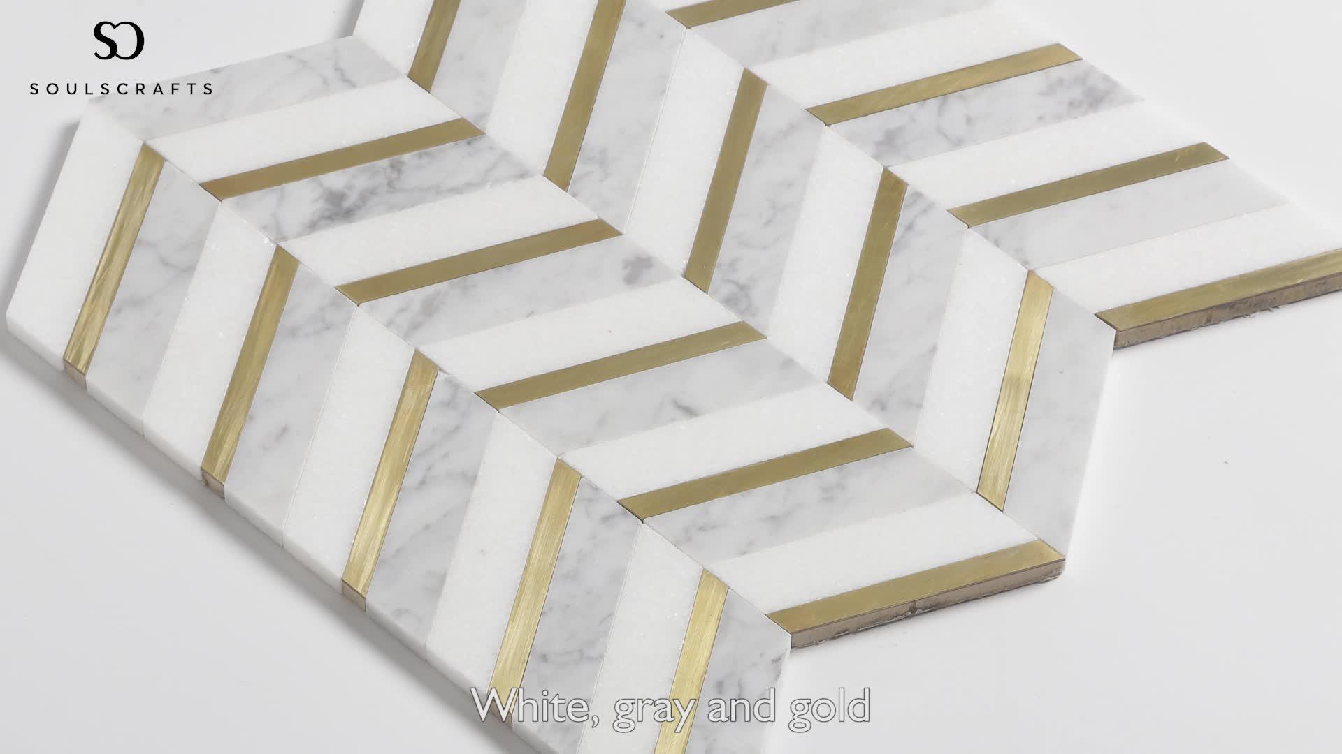 Soulscrafts Thassos Weiß Gemischte Bianco Carrara Marmor und Messing Waterjet Mosaik Wandfliesen