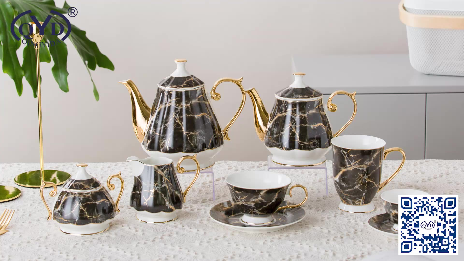 Unique black marble gold rim porcelain tea mug ceramic coffee cup and saucer