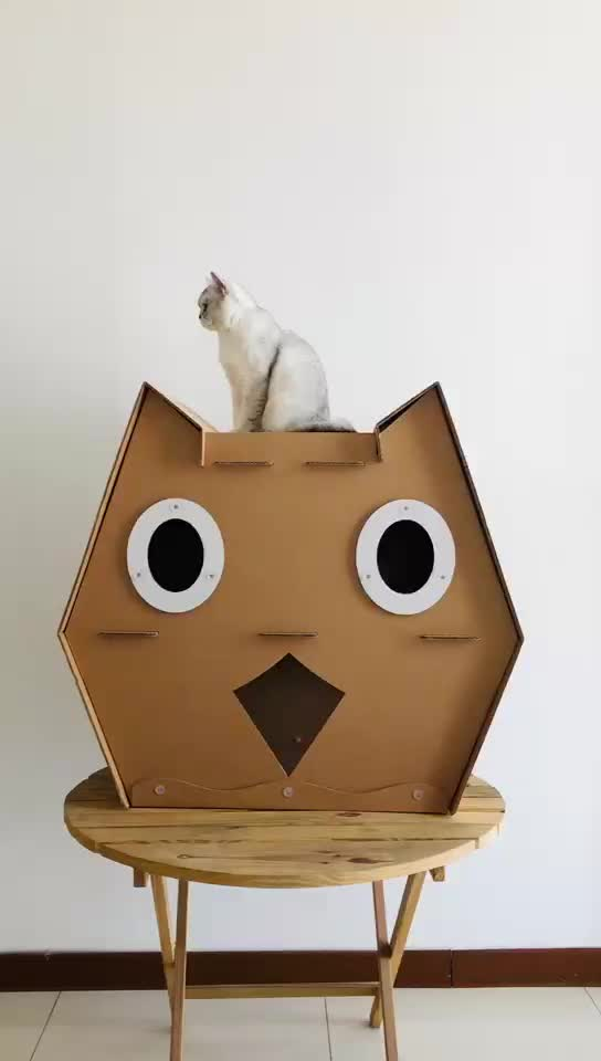 Supply wholesale corrugated cardboard cat scratcher tower indoor cat house