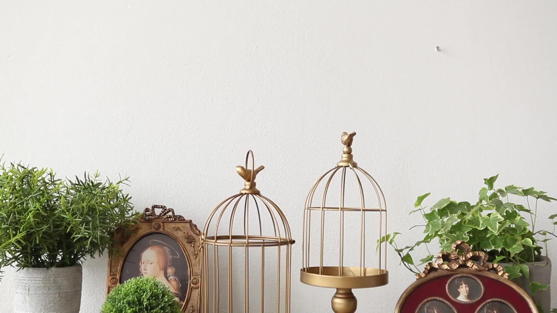 Classic golden metal wedding decor birdcage kaarshouder voor home deco