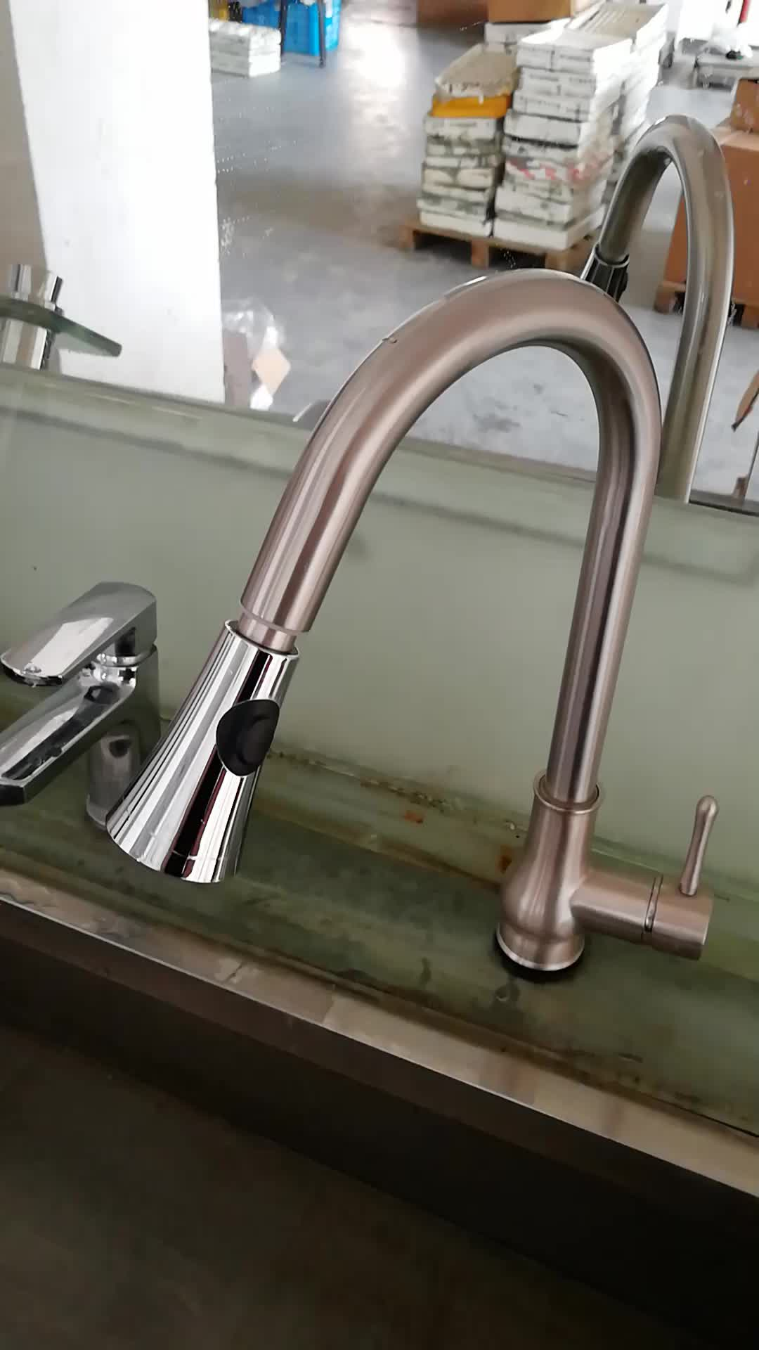 Lead free faucets Hand-touch sensor tap pull-out spray head 304 stainless steel kitchen sink mixer (SS61)