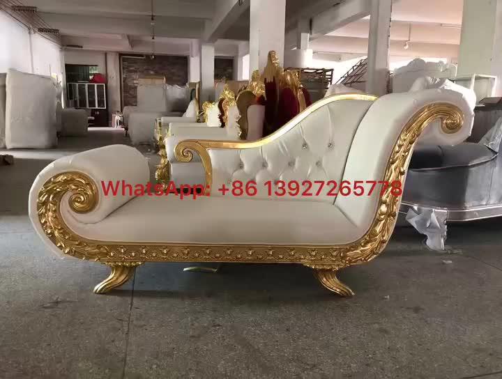 Sofá de espera blanco estilo trono de lujo marco dorado/silla de recepción