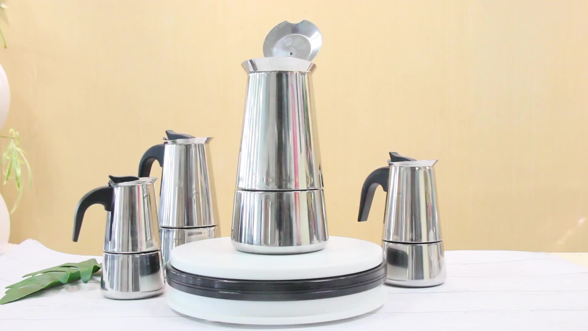 Promotional 6 Cup Moka Espresso Machine Stainless Steel Portable Coffee Maker with Extra Coffee Filter, Clip Spoon, Carrying Bag