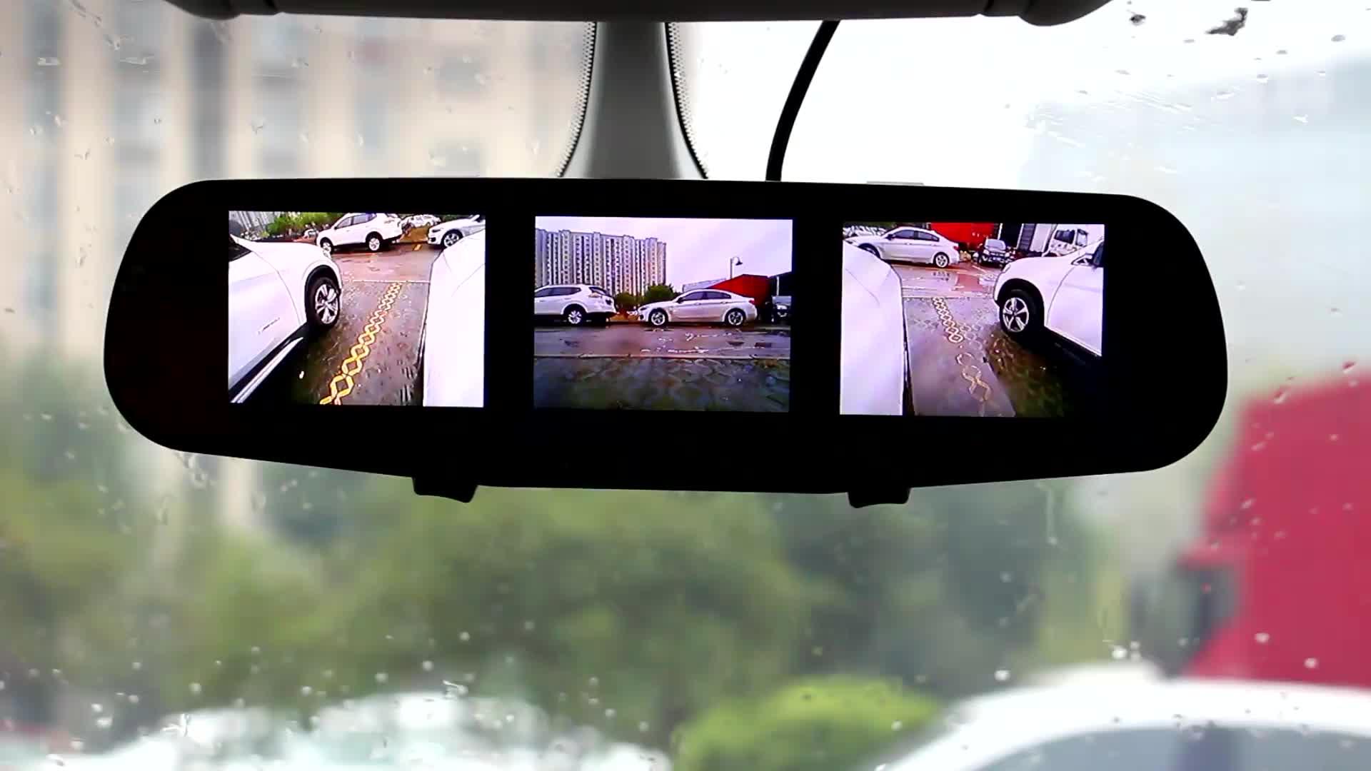 H3 inverso dell'automobile della macchina fotografica con display 3 split screen auto lato dello specchio della macchina fotografica