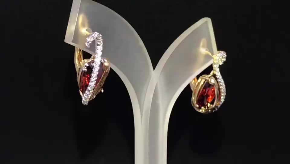 Indian Artifical Crystal Jewellery Red Color Earrings For Women