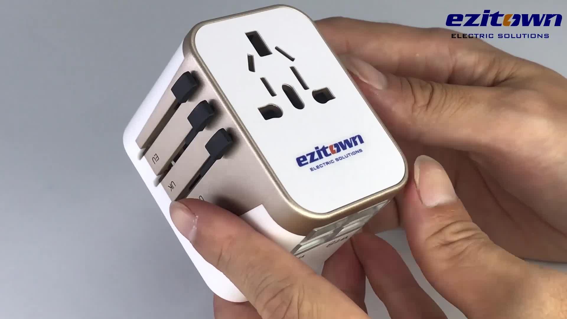 Ezitown 100-250 V evrensel soket çıkış usb güç adaptörü hepsi bir evrensel dünya çapında seyahat şarj adaptörü fişi