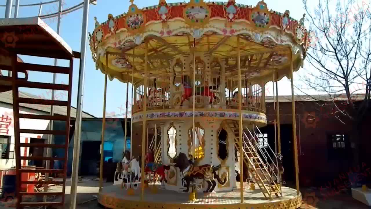 Child play mechanical portable carnival outdoor plastic children kids ride on merry go round