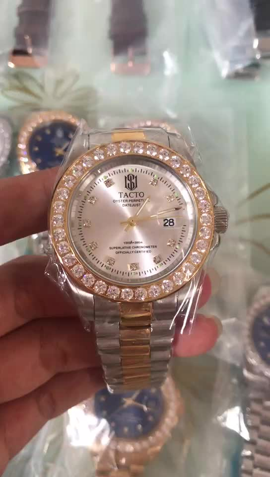 High Quality IP Plating Solid Stainless Steel Mens Gold Watch With Full Diamond