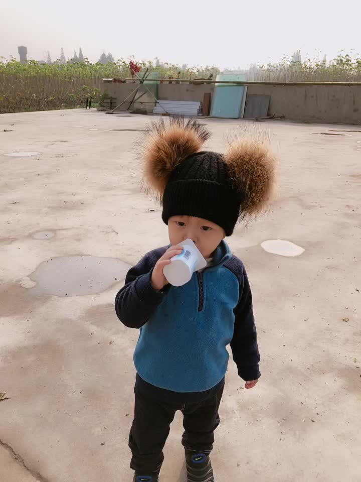 Modern Cheap Babies Kids Warmer Two Poms Beanie Winter Hats And Caps