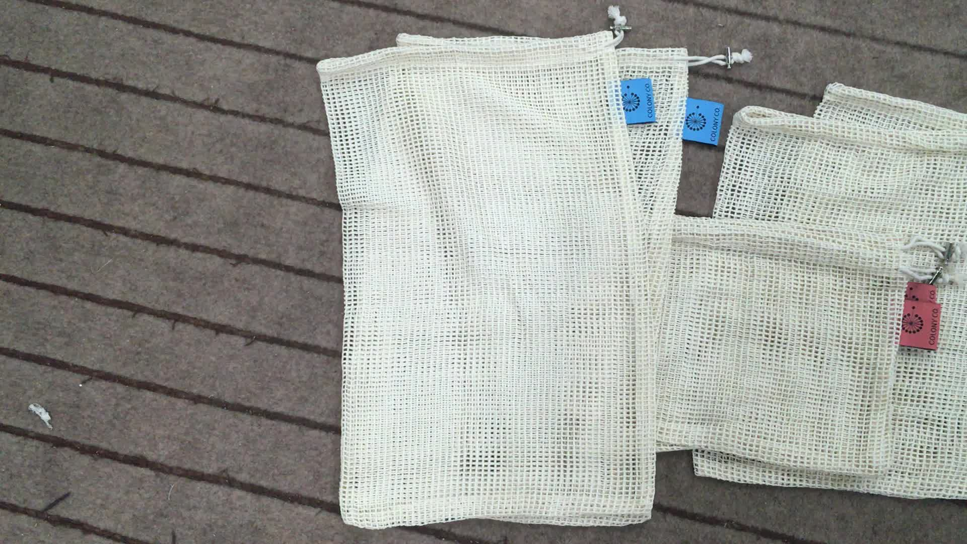 Zero Waste Simple Ecology washable and reusable Cotton Mesh Produce Bag for vegetable and fruit