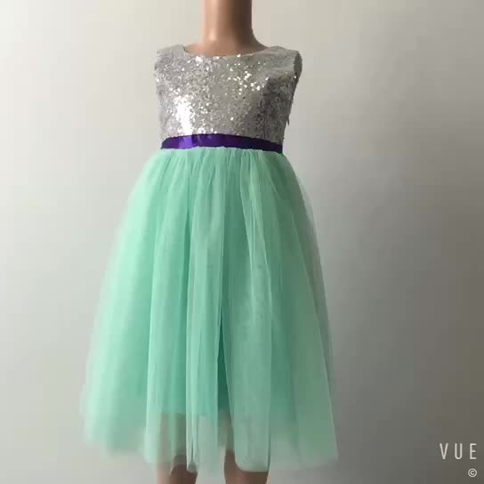 wholesales girls kids baby clothing apple green tulle sequin dress birthday party fancy dress