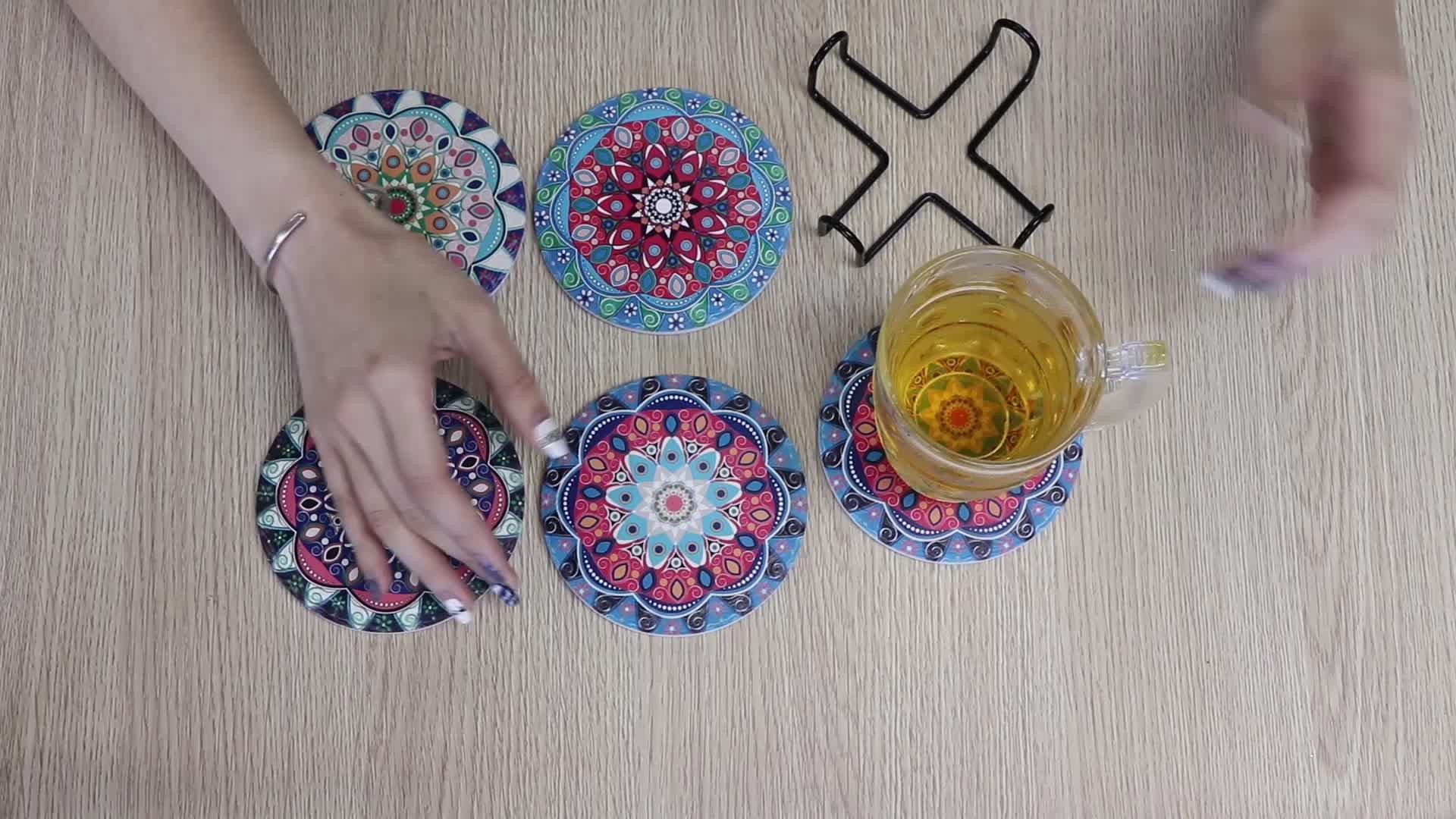 Mandala pattern cup coaster custom ceramic coaster with cork back for wholesale