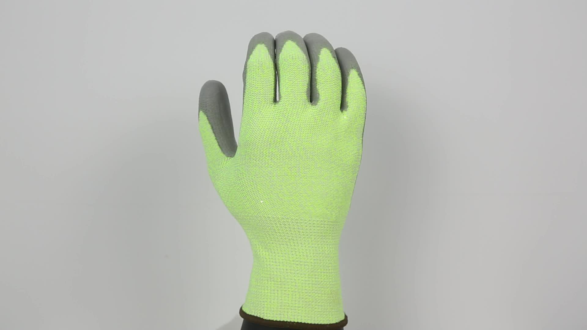 Hallo Vis Grün PU Palmen Beschichtete Zwei Finger Stil Touch Anti Cut Beständig Winter Handschuhe Touch Screen für Großhandel