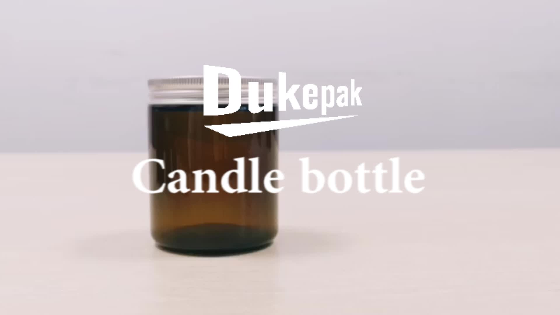 Wholesale empty 100ml 250ml amber glass candle jar with lid