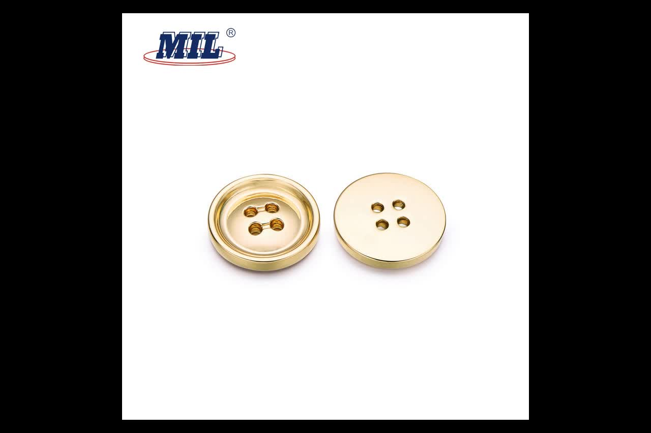 Customized Made Fancy Zinc Alloy 4 Hole Metal Sewing Button For Clothes