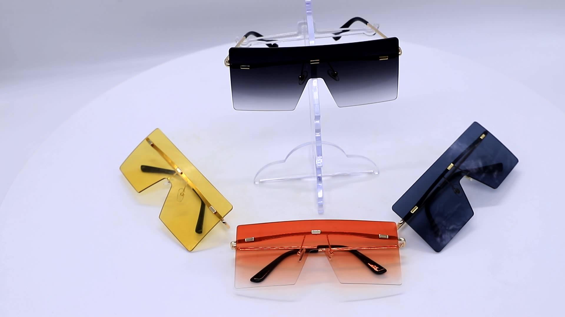 MOCOO 2020 sunglasses big Conjoined lenses fashionable Colorful Rimless Oversized Square Frame sun glasses usa europe sunglasses