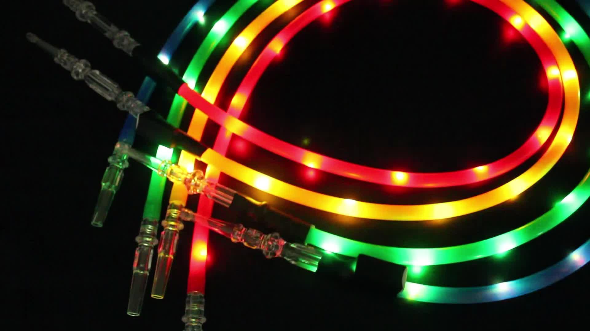 Одноразовые силиконовые трубки для кальяна, аксессуары, резиновая светящаяся трубка для кальяна