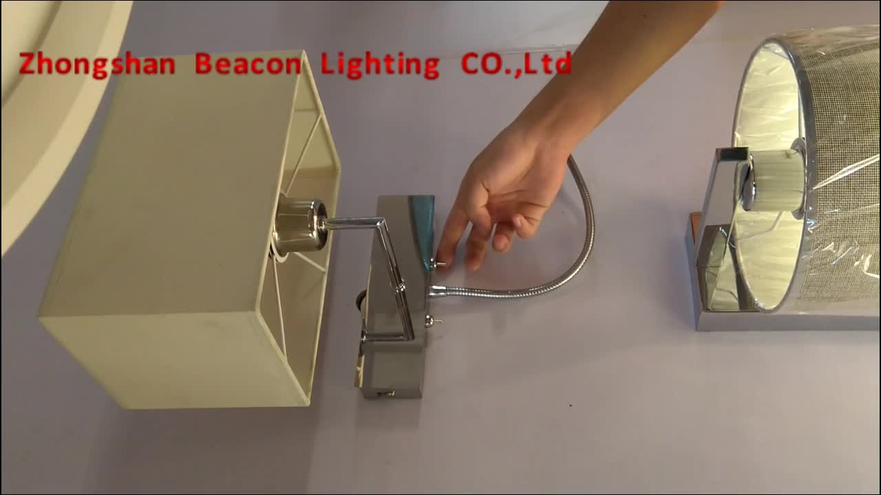 Engineering custom-made fabric shade steel wall lights with reading lights for hotel rooms with USB charger
