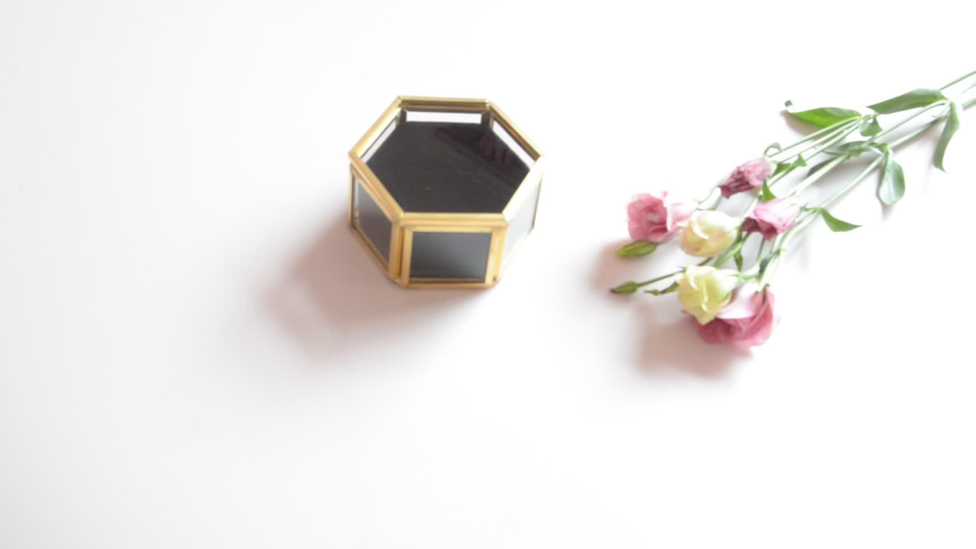 wedding art decor storage enamel jewellery metal velvet double ring box