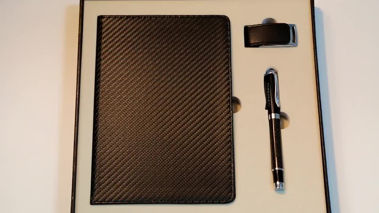 Carbon Fiber Notebook& Pen &16GB Leather USB Pen Drive Corporate  Gift Set for Promotion