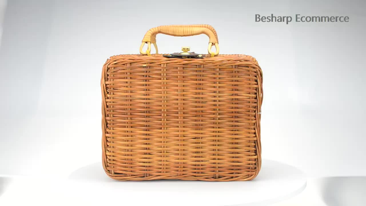 Wholesale Handmade Cheap Square Wicker Basket Case Rattan Baskets Indonesia