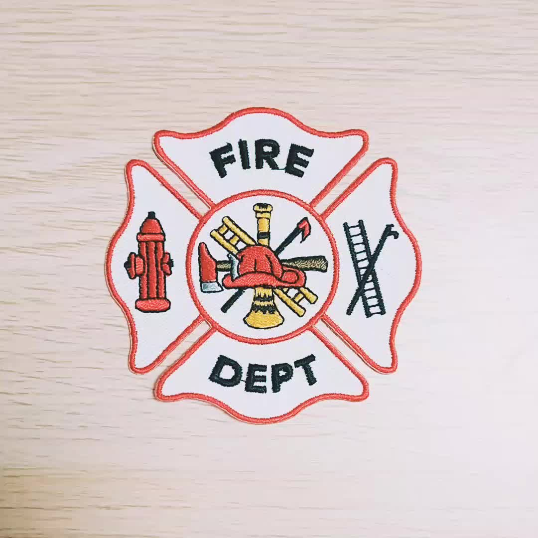 Custom embroidered fire brigade rescue department embroidery badge patches