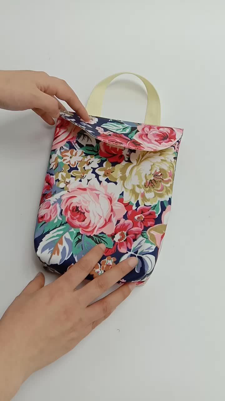 DEEKIDS Floral Pattern Canvas Wet Dry Bag Waterproof Reusable Tote Nappy Pouch Pocket Bag Portable Baby Diaper Travel Pouch