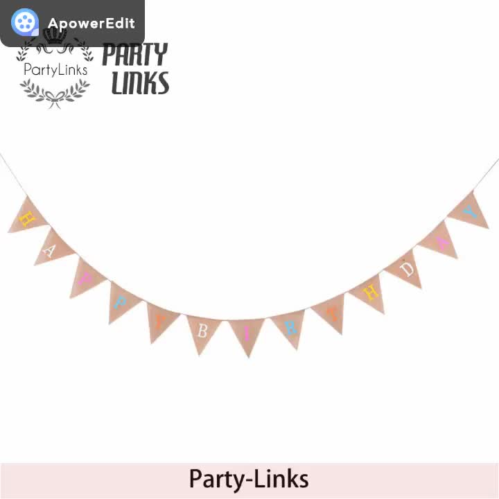 New Rustic Burlap Hessian Bunting Banner Triangle Happy Birthday Letter Banner Party Decorations