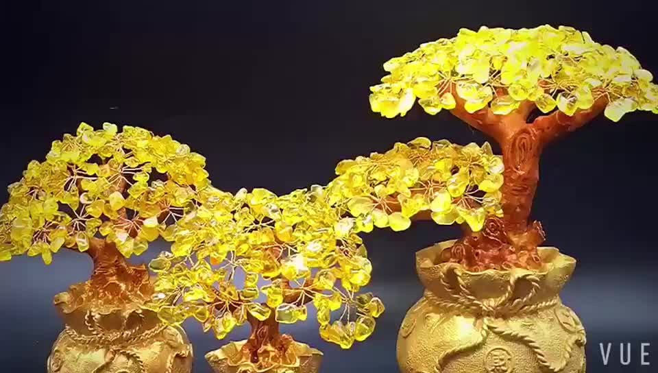 Wholesale Nature Gifts Yellow Quartz Feng Shui Money Tree Crystal Tree