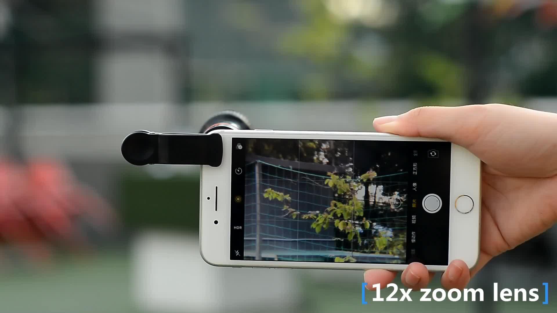 APEXEL best seller 4 in 1 kit di lenti 198 gradi fisheye grandangolare macro zoom lens per Smartphone