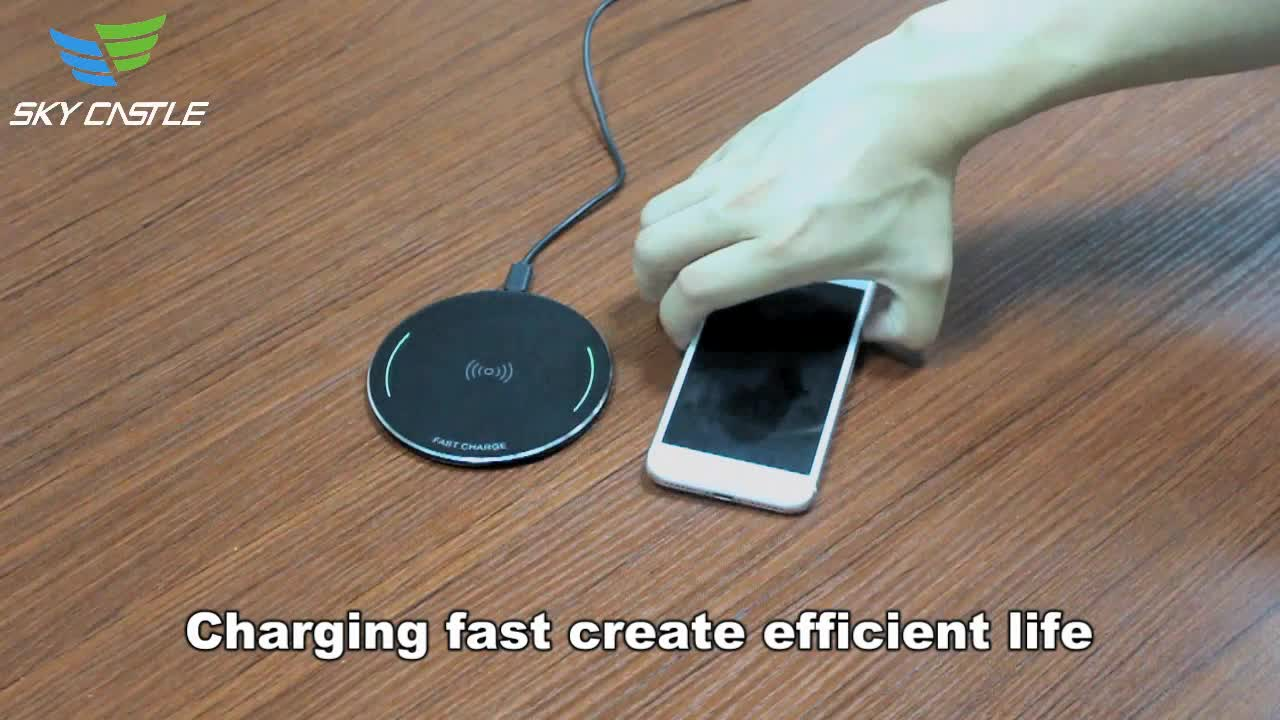 Factory Wholesales round metal 10W qi cell phone charging pad fast wireless charger