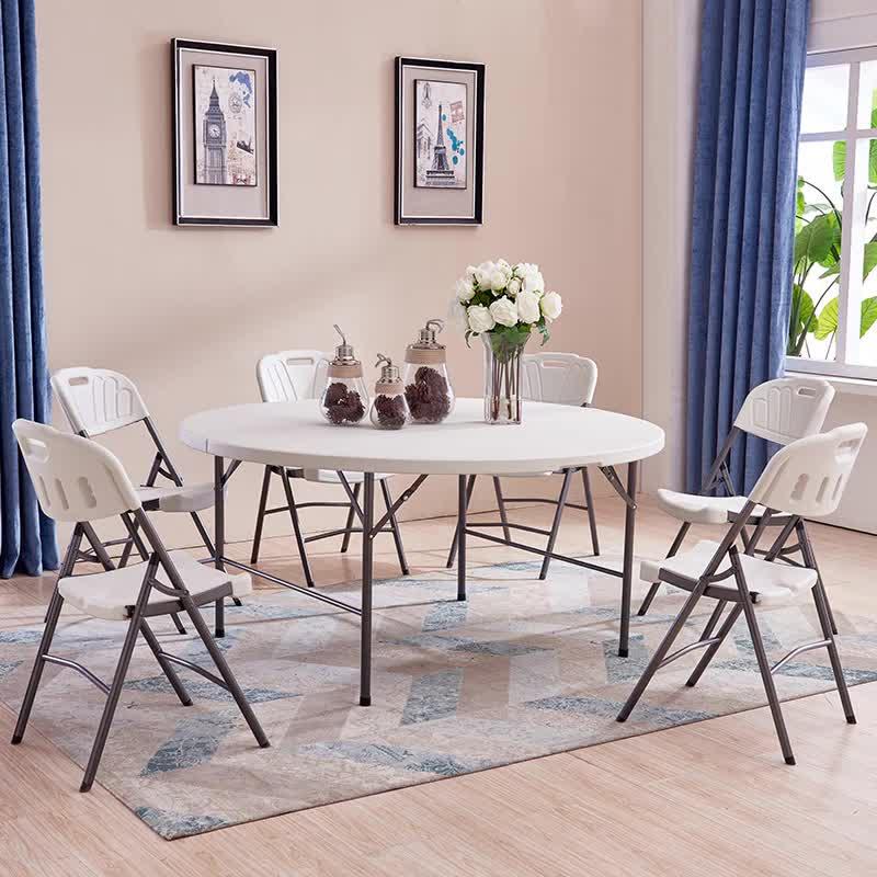 Tavolo Pieghevole in plastica rotondo utilizzato per il banchetto di nozze all'aperto tavoli pieghevoli 6 ft tavolo sedie