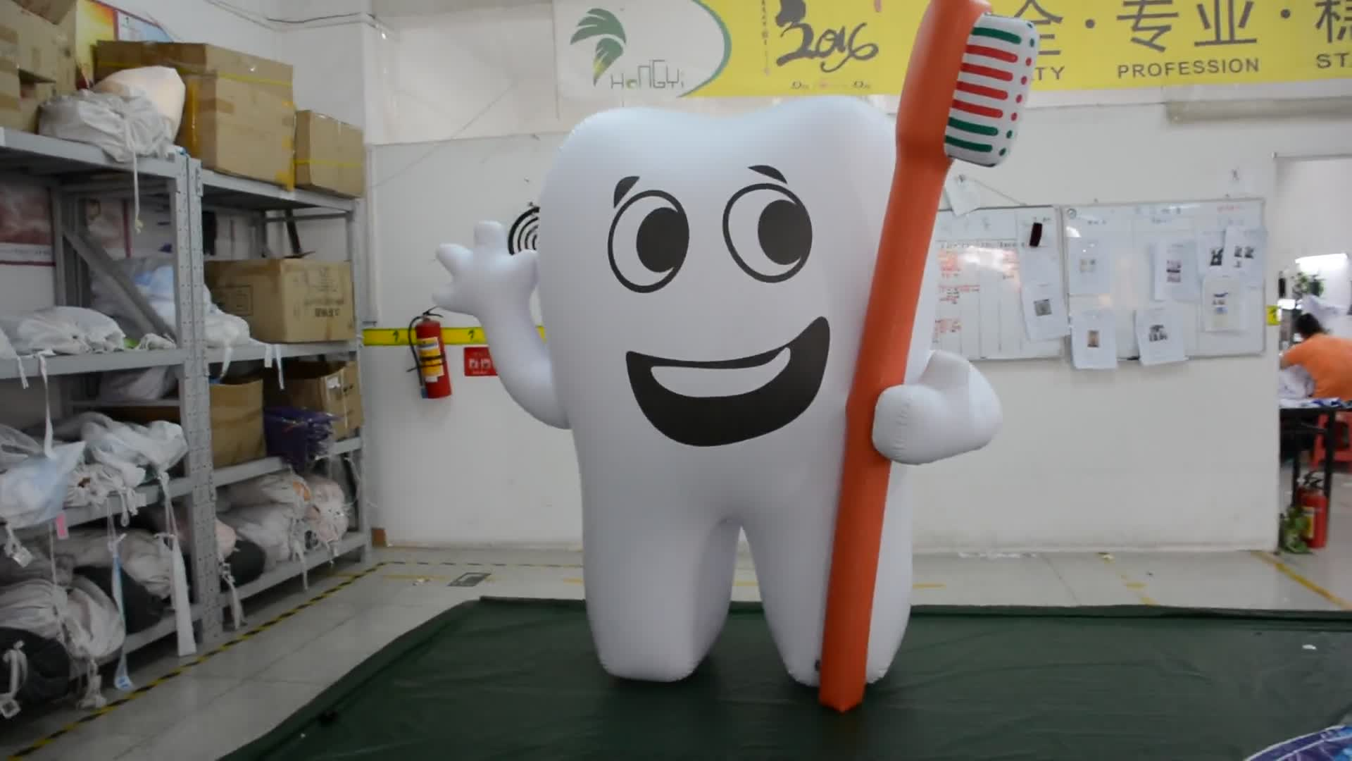 Dental Advertising Inflatable Tooth Model With Toothbrush White Inflatable Teeth Balloon
