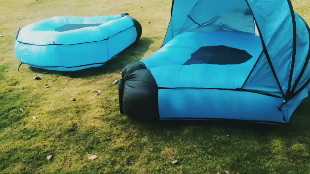 Amazon Top Seller Canopy Double Camping Sleeping Bag Pod Inflatable Air Lounger Sofa with Tent