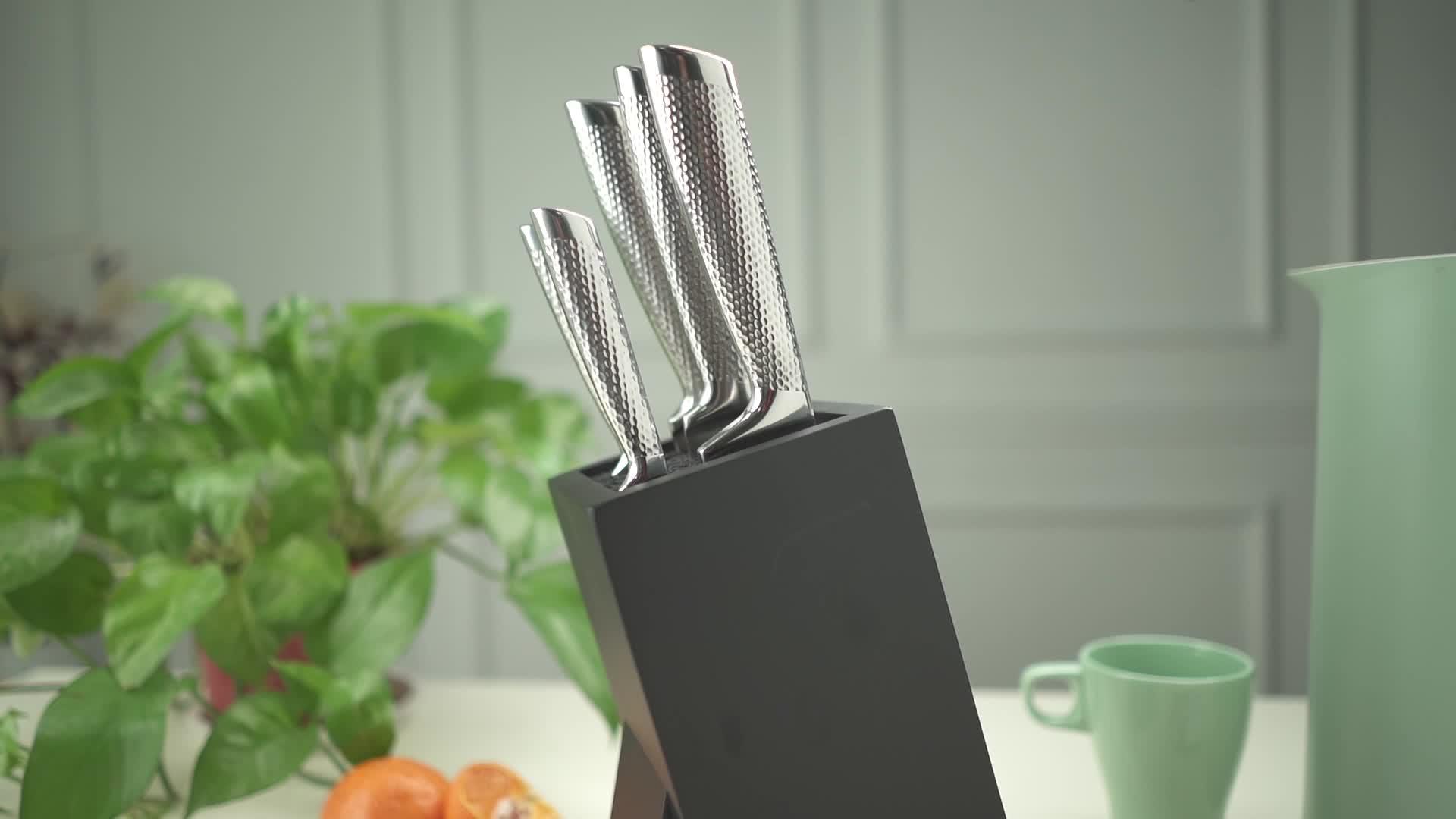 Professionelles 6-teiliges Messerset mit Holzblock Deutschland Besteck-Messerset aus hochwertigem Edelstahl
