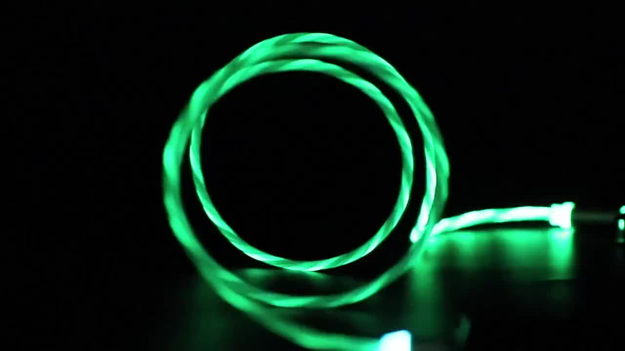 Multi Colors Flowing LED Light Strong Magnetic 3 in 1 USB cable