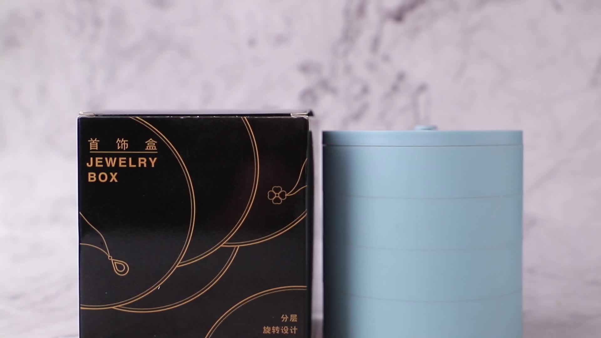 360 Degree Rotating Jewelry Storage Box 4 Layers luxury Jewelry packaging box 2020