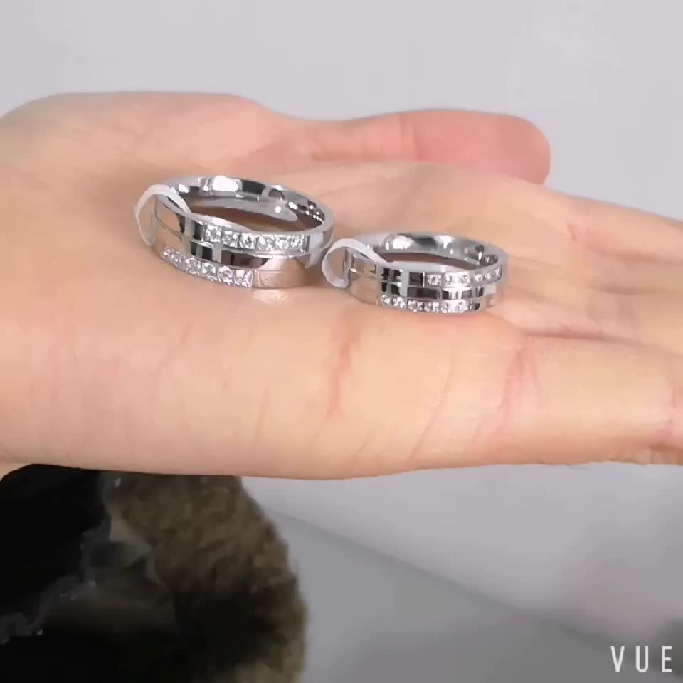 Fashion Wedding Jewelry For Women And Men Couple Rings AAA Zircon Matte Finished Romantic Stainless Steel Rings